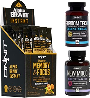 ONNIT Alpha Brain Instant + New Mood 30ct + Shroom Tech Sport 84ct Nootropic Stack