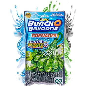 Bunch O Balloons 100 Grenade Rapid-Filling Self-Sealing Water Balloons by ZURU, (Model: 56112Q)