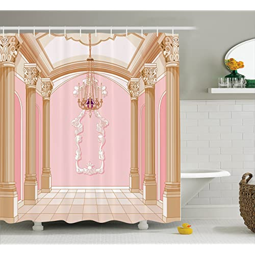 Charmant Ambesonne Teen Girls Decor Shower Curtain Set, Interior Of The Ballroom  Magic Castle Chandelier Ceiling