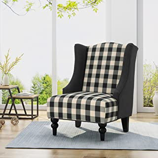 Christopher Knight Home Alonso High-Back Fabric Club Chair, Black Checkerboard and Dark Charcoal