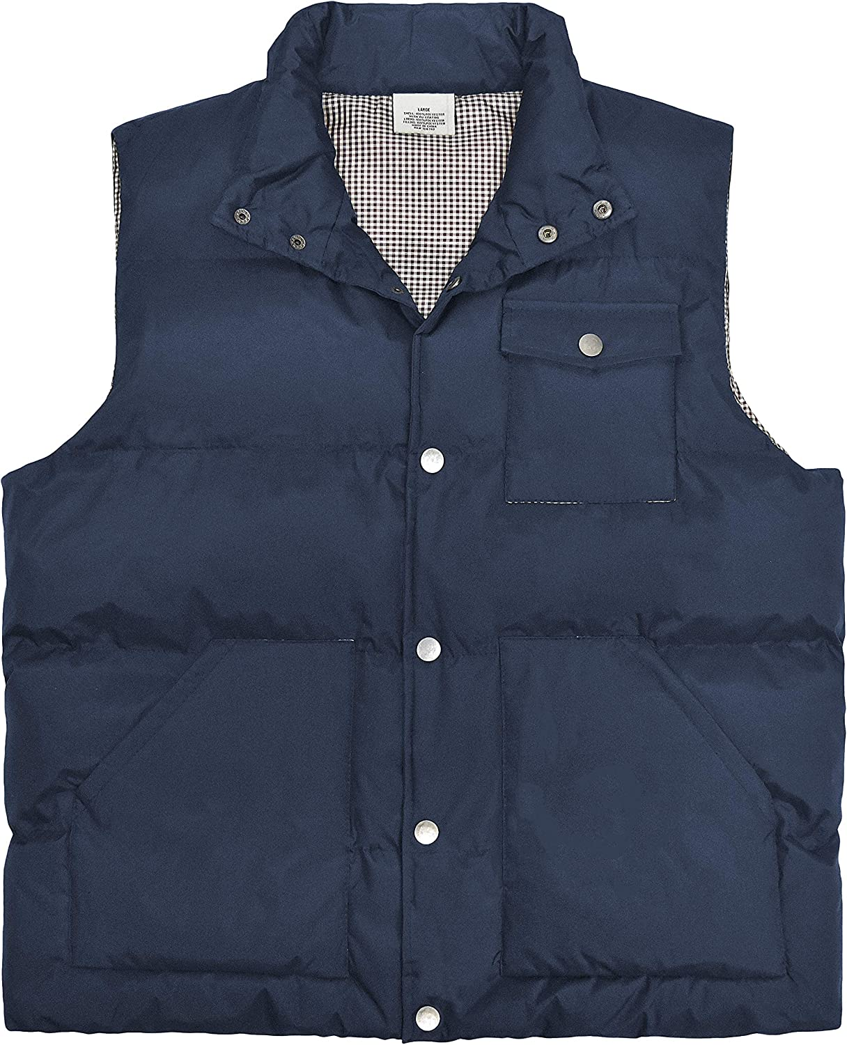 Victory Outfitters Men's Snap Front Quilted Puffer Vest with Checker Print Lining