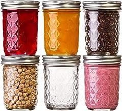 Ball Mason Quilted Crystal Jars 8 oz Regular Mouth Glass Bundle with Non Slip Jar Opener- Set of 6 Half Pint Size Mason Ja...