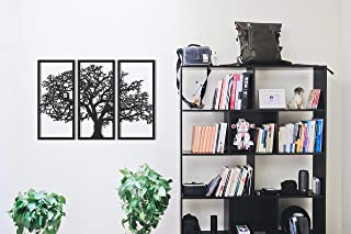 Tubibu 3 panneaux en bois (MDF), arbre généalogique, arbre de vie en bois, sculpture murale en bois, décoration murale, dé...