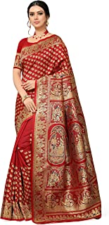Mahi Creation Women's Banarasi Pure Silk Saree With Unstitched Blouse Piece (FC_60 RED_Red)