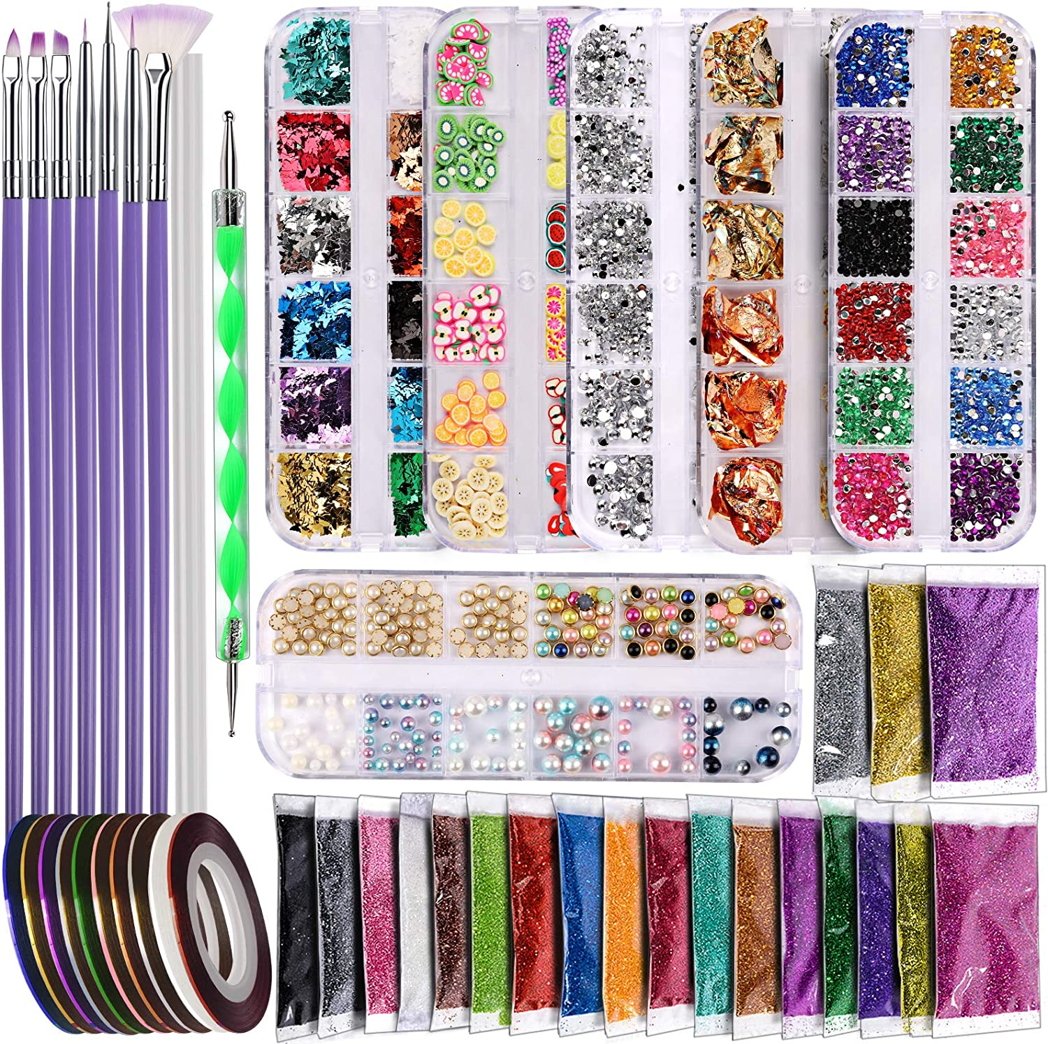 Teenitor Nail Art Decoration Kit with Glitte Inventory cleanup selling sale Design Virginia Beach Mall Brushes