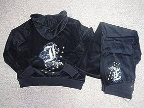 Juicy Couture Women Tracksuit 2x Black Velour Sweat Suit Jacket (Hoodie) and Pants Full Set