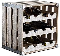 American Art Décor White Wood 12 Bottle Wine Rack Storage Crate