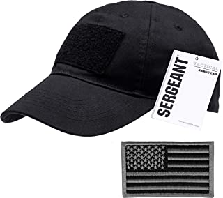 Military Tactical Baseball Cap in Black + USA Flag Patch. 100% Cotton, 3 Patches on Front, Top & Back, Adjustable Closure in Back. Use for Range, Operator, Hunting, Fishing.