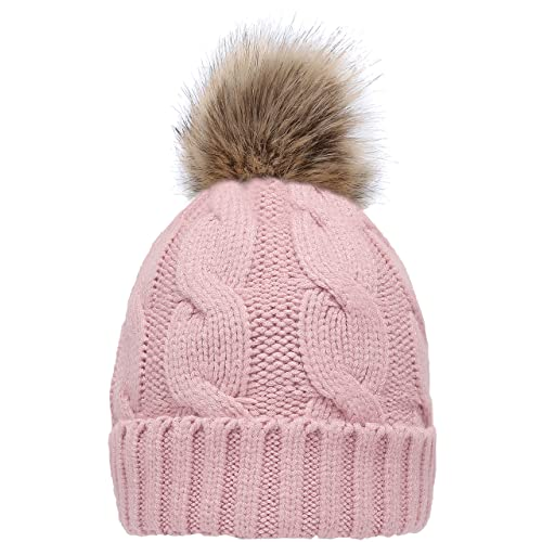 430e1c5e527023 NEOSAN Women's Winter Ribbed Knit Faux Fur Pompoms Chunky Lined Beanie Hats