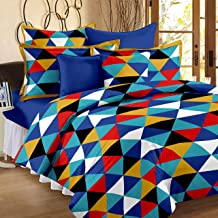 Story@Home 120 TC Cotton Geometric Style Triangle Pattern 1 Piece Double Bed Size Bedsheets with 2 Complementary Pillow Covers, Yellow, Blue and White