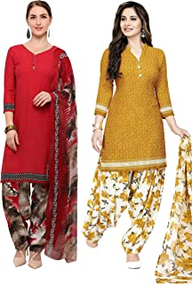 Rajnandini Women's Red and Mustard Crepe Printed Unstitched Salwar Suit Material (Combo Of 2) (Free Size)