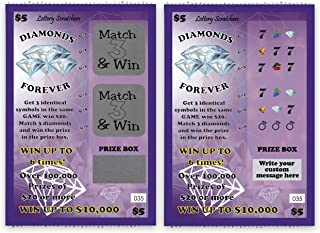 My Scratch Off Custom Message Scratch Off Lotto Replica Card - Purple Diamonds Forever Design - 4 x 6 Inches - 1 Pack