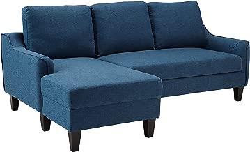 Ashley Jarreau Mid Century Blue Upholstered Sofa Chaise Sleeper