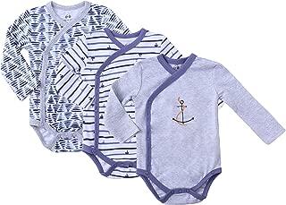 Asher & Olivia Baby Kimono Side Snap Onesies Pack Boy Long Sleeve Bodysuit Set