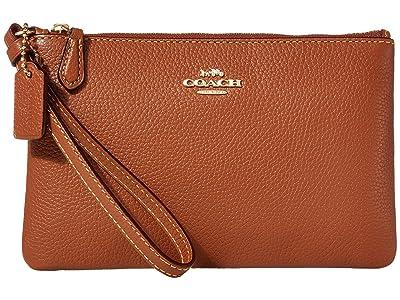 COACH Box Program Small Wristlet (1941 Saddle/Gold) Wristlet Handbags