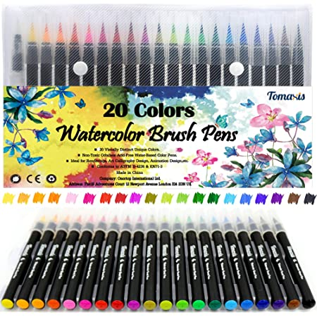 Lot de 20 stylos pinceaux Fournitures artistiques Pour livres de coloriage, à faire soi-même - Esquisses, carnet, calligraphie, peinture - Pinceau à eau avec pointe feutre inclus