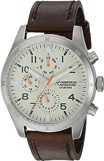 Armitron Adventure Men's AD/1003IVSVBN Multi-Function Dial Dark Brown Leather Strap Watch