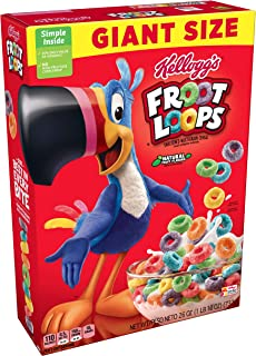Kellogg's Froot Loops, Breakfast Cereal, Original, Good Source of Fiber, Giant Size, 26 oz Box