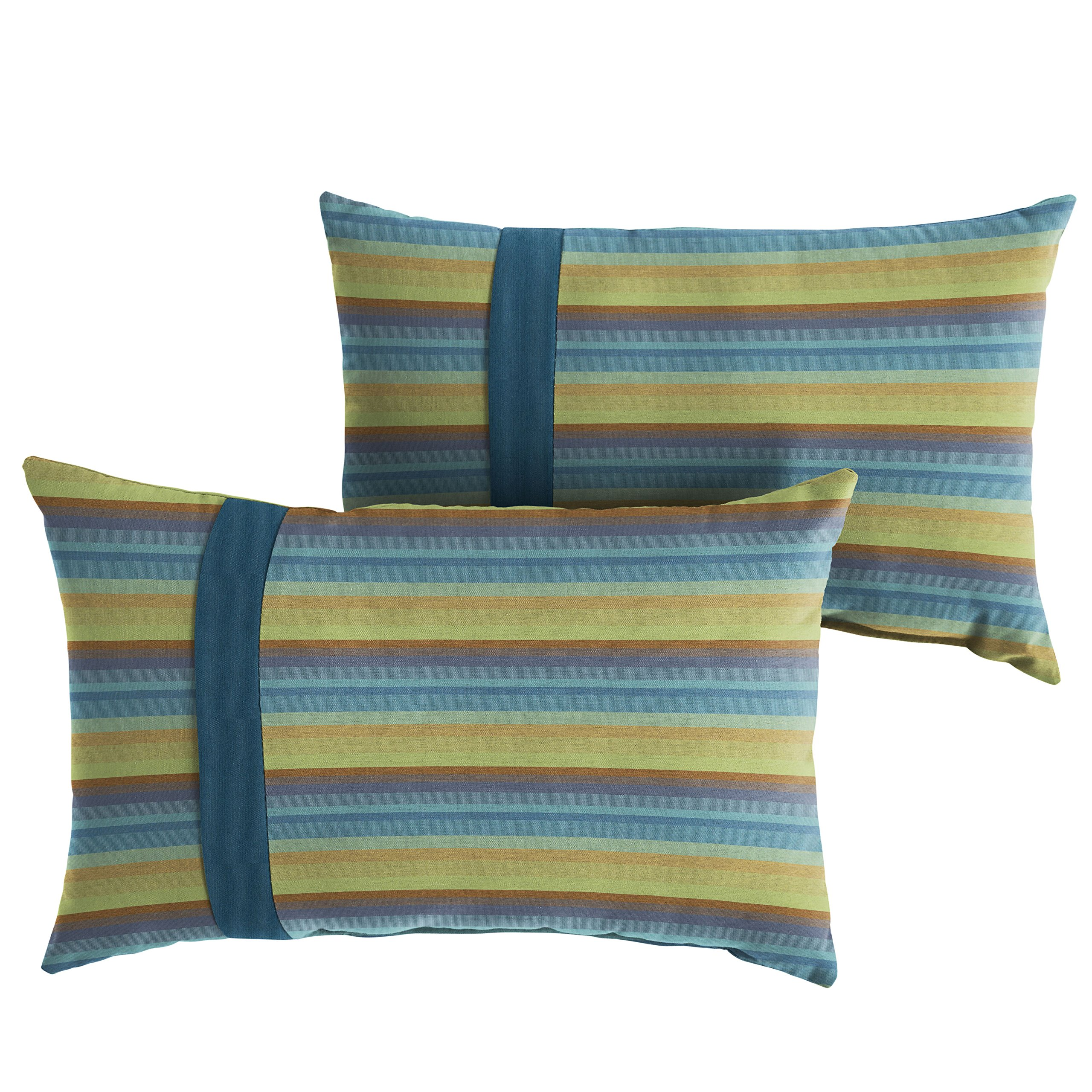 Set of 2 Gateway Mist Stripe and Cast Silver Mozaic Company Sunbrella Indoor// Outdoor Corded Pillows