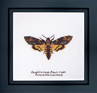 Thea Gouverneur - Counted Cross Stitch Kit - Embroidery Kit - 563A - Pre-Sorted DMC Threads - Death's-head Hawk moth - Aid...