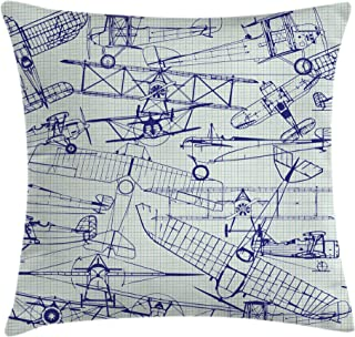 Ambesonne Airplane Throw Pillow Cushion Cover, Old Airplane Drawings Classic Dated Flight Vintage Style Nostalgic Jets, Decorative Square Accent Pillow Case, 18