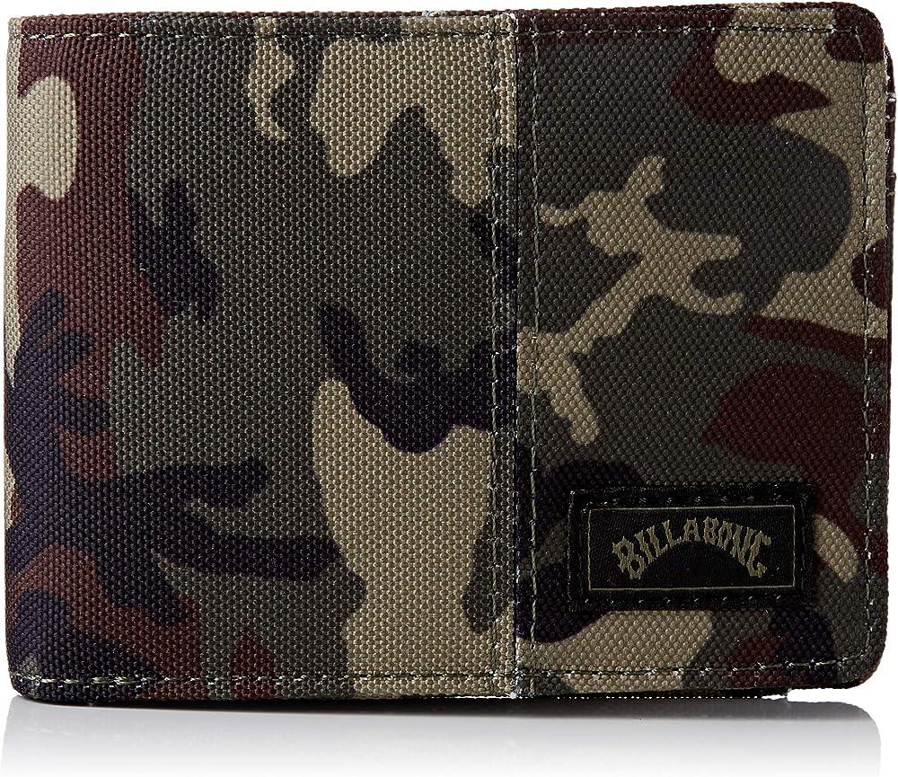 Billabong tides wallet, portafoglio portafoglio a doppia piega, in cotone al 100%, con protezione rfid U5WM08B
