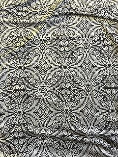 White Black 2 Tone Lili Burnout Damask Geometric Stretch Velvet Fabric -BTY- 60