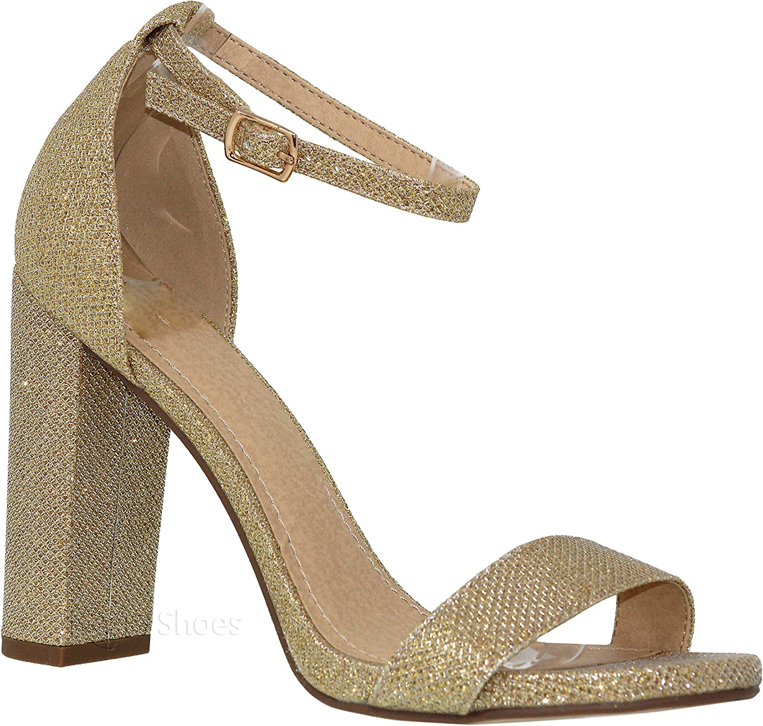 MVE shoes Women's Fashion Ankle Strap Chunky Heeled-Sandals
