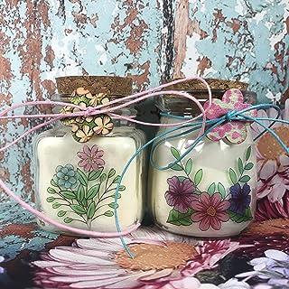 2 candele in cera di soia con motivi floreali profumatissime tappo di sughero boho chic shabby hippy coloratissimi idea re...