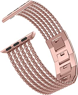 Wearlizer Rose Gold Compatible with Apple Watch Band 42mm 44mm for iWatch Womens Mesh Loop Stainless Steel Wristbands Metal Replacement Strap Beauty Dress Cuff Bracelet Series 5 4 3 2 1 Sport Edition