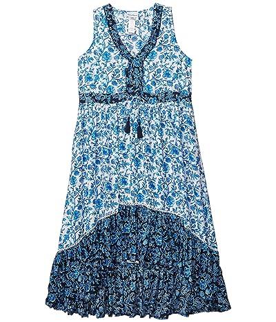 Tommy Bahama Woodblock Sleeveless Ruffle Dress (Mare Navy) Women