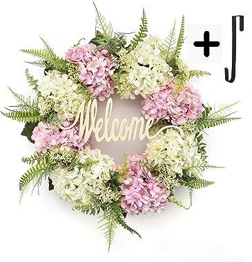 Wreaths for Front Door Handmade Hydrangea Wreath,letter wreaths for front door,Fall Wreath,farmhouse door wreaths,Grapevine W
