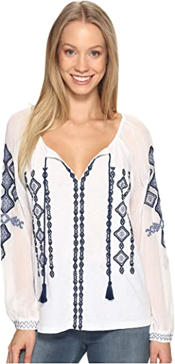 Lucky Brand - Embroidered Woven Mix Top