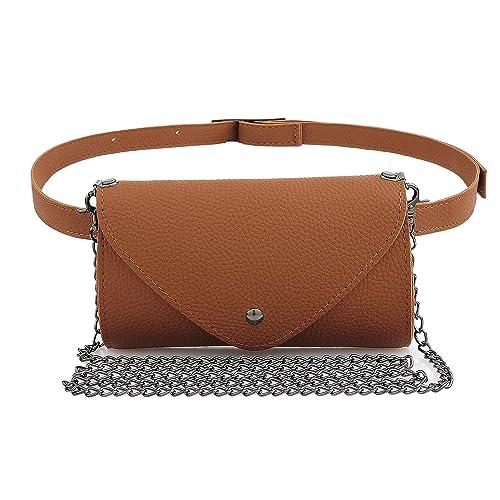 0345b0fca15b8 Women s Fashion Elegant Leather Brown Waist Fanny Belt Crossbody Pack Bags  With Purse Pocket Stylish For