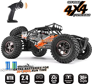 RC Cars PROTECTOR 1/12 Scale 4WD Off-Road Buggy 38 KM/H High Speed with LED Lights, 2.4 GHz Radio Controlled All Terrain Waterproof Trucks RTR Electric Power 2 Rechargeable Batteries 7.4 V 1500 mAh