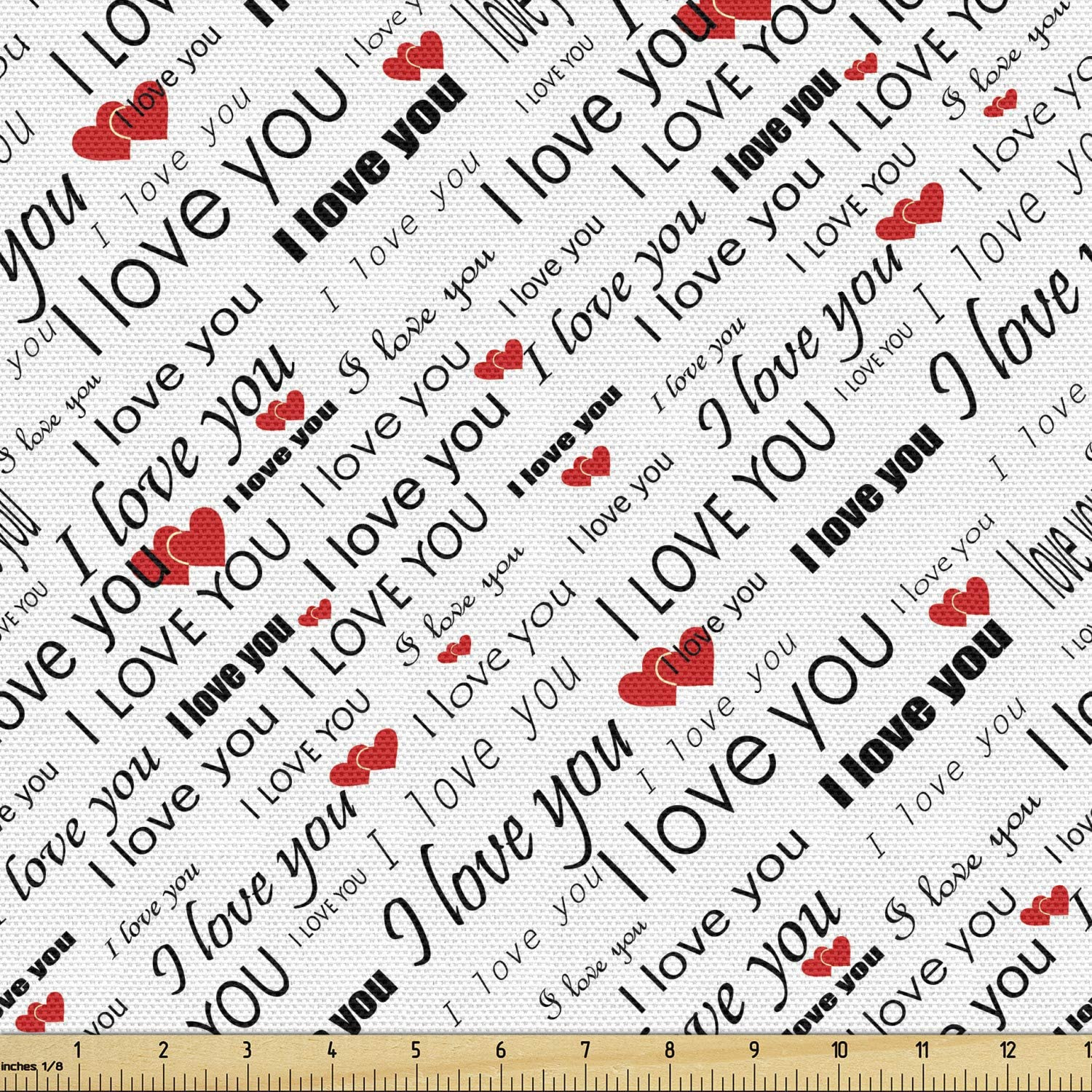 Ambesonne I Love You All items in the Inexpensive store Fabric by The Words Romance Yard with Hear