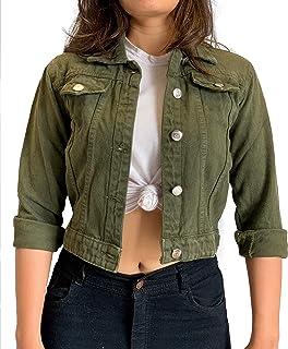 Shocknshop Full Sleeves Comfort Fit Regular Green Denim Ladies Jacket for Women (JKT22)