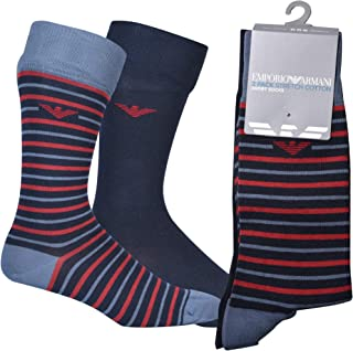 Emporio Armani Men's Underwear Short Socks Set 2Pack Casual Set of 2, Navy Blue, One Size (Pack of 2)