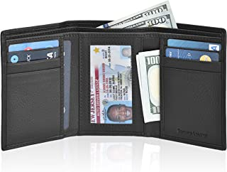 Slim Leather Wallets for Men – Front Pocket Tifold with RFID Card Holder and ID Window Mens Wallet