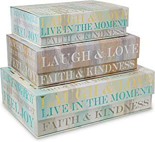 Tri-Coastal Design Decorative Nesting Storage Boxes with Lids Stackable Box Set with Laugh & Love Designs - Rectangle Cardboard Containers for Storage and Organization - Small, Medium, and Large