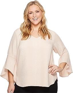 Calvin Klein Plus - Plus Size Flare Sleeve V-Neck Blouse