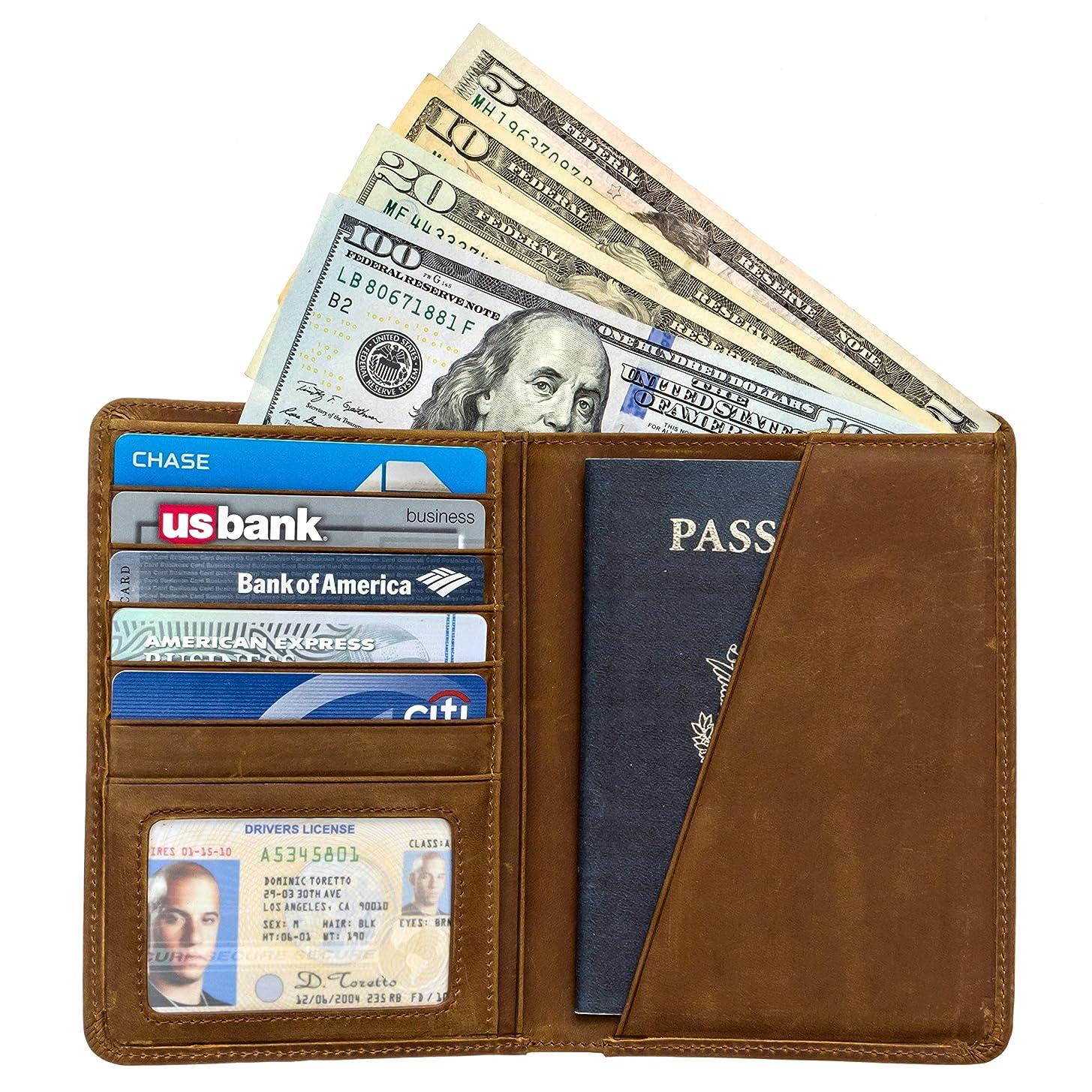 香港カード爆発RFID のパスポート ホルダー旅行財布 - 本物の狂気の馬革をブロック