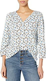 Lucky Brand Women's Long Sleeve V Neck Printed Smocked Peasant Top