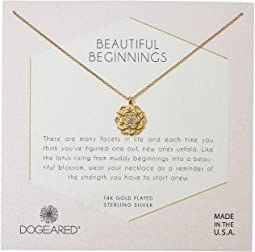 Beautiful Beginnings, Detailed Lotus Charm with Crystal Inset Necklace