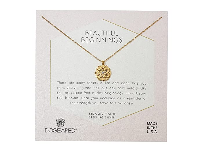 Dogeared Beautiful Beginnings Detailed Lotus Charm With Crystal
