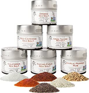 Gourmet Finishing Salts & Rubs, Spice Collection - Non GMO - All Natural - Artisanal Seasonings - Sustainably Sourced - 6 ...