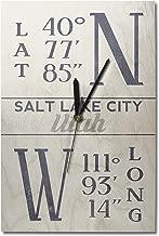 Lantern Press Salt Lake City, Utah - Latitude and Longitude (Blue) (10x15 Wood Wall Clock, Decor Ready to Hang)