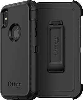 OtterBox Defender Series Screenless Case Cover w/Holster for iPhone X 10 - Black (Renewed)
