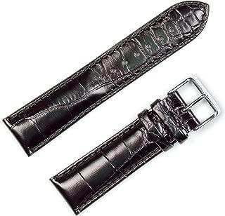deBeer Brand Crocodile Grain Watch Band (Silver & Gold Buckle) - Black 22mm (Short Length)