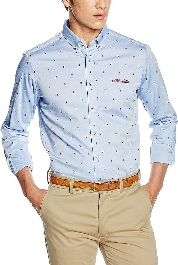 Spagnolo Camisa Oxford Estampado Boton Slim 1125, Celeste con ...